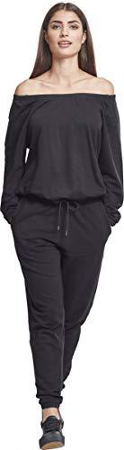 Urban Classics Damen Jumpsuit Ladies Cold Shoulder Terry, Schwarz (Black 00007), X-Small - 4
