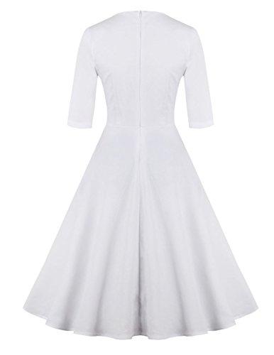 Modetrend Femme Printemps Robe de Soirée Cocktail avec Manches 1/2 Rétro Vintage Année 50 Style Audrey Hepburn Rockabilly Swing Dress Blanc