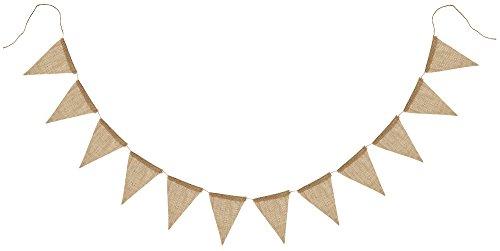 FiveSeasonStuff Vintage Jute Hessian Bruant, Fanion Triangle Drapeaux Bannière Guirlande Décorations pour Mariage, Anniversaire, Banquet, Maison, Jardin, Pépinière, Articles de Fête (13 Drapeaux, 3.6m)