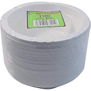 Party & Paper Solutions 100 Cuencos de plástico de 15 cm, 100 Unidades, Color Blanco, Ideal para Fiestas
