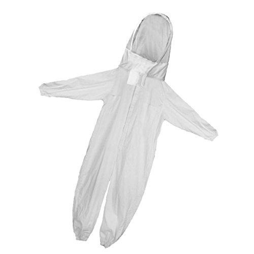 FITYLE Professioneller Imker-Anzug Ganzkörperanzug aus Baumwolle mit Kapuze - Weiß, L