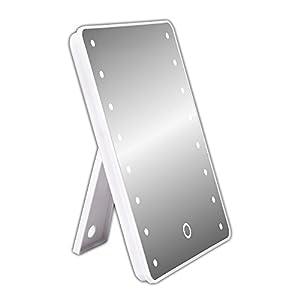Schramm® Schminkspiegel mit LED Weiss Make up Spiegel mit Beleuchtung dimmbar Standspiegel Kosmetikspiegel Badezimmerspiegel Rasierspiegel Kosmetik Spiegel
