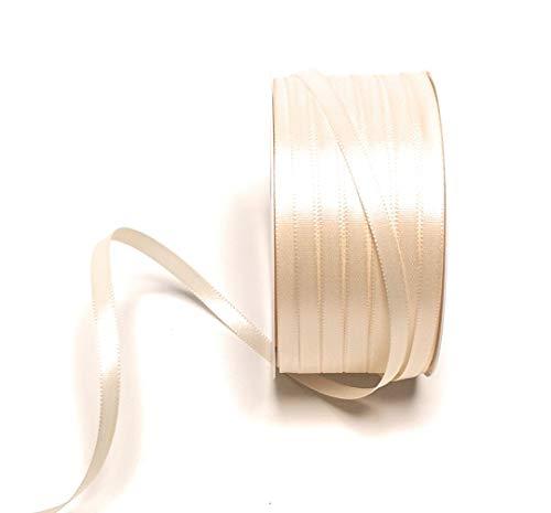 Konrad Arnold Satinband 50m x 6mm Creme Elfenbein Dekoband Geschenkband Schleifenband