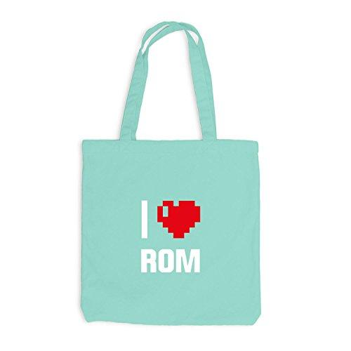 Jutebeutel - I Love Rom - Italien Reisen Herz Heart Pixel Mint
