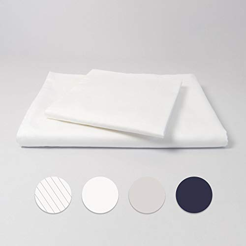 cloudlinen Bettwäsche Set aus 100% Extra-Langstapeliger Premium Baumwolle - 135x200 cm (Bettbezug) + 80x80 cm (Kissenbezug) - weiß einfarbig/unifarben - kuscheliger, Warmer und weicher Mako Satin -