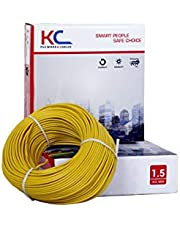 DMT KC-Cab PVC Insulated 1.5 sq/mm Single Core Flexible Copper Wire for Domestic/Industrial Use, 90 m Coil (Yellow)