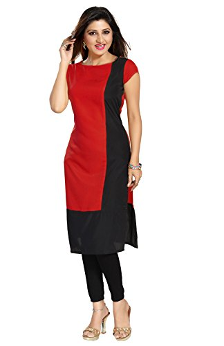 ALC Creations Women's Faux Crepe A-Line Kurti(ALC2067R1_Red_XS)