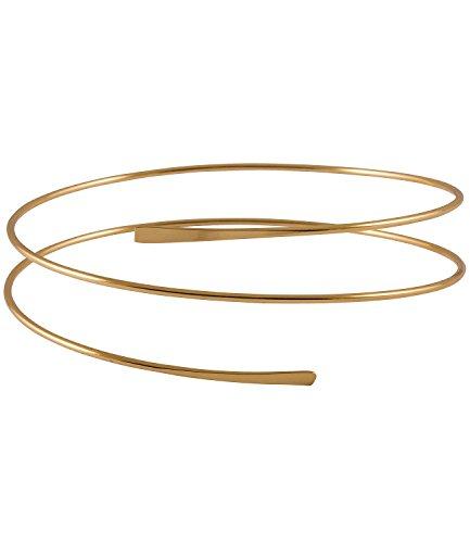 SIX Upperarm-Cuff in Spiralform: Goldfarbener Armreif für den Oberarm, Armspange mit offenen Enden, Stahl, Durchmesser ca. 8 cm (431-001)