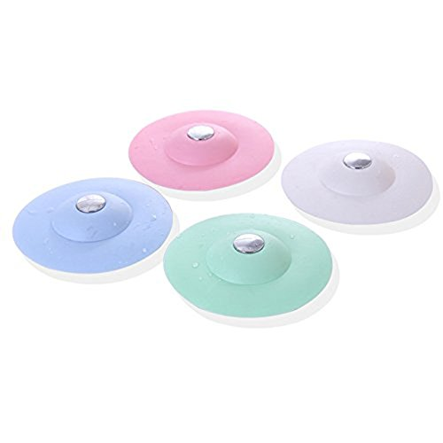 BEAUTOP 1PC Círculo Silicona Tapón de Goma para Plato de Ducha Lavabo Lavabo Cocina Tapones de Drenaje de Agua 10*3.6cm rosa