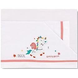 Pirulos 00113219 - Sábanas, diseño unicornio, 50 x 80 cm, color blanco y fresa