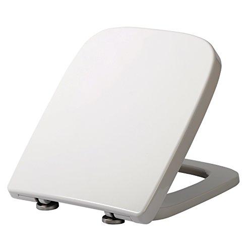 WOLTU WS2615 WC Sitz Toilettensitz mit Absenkautomatik, Fast Fix/Schnellbefestigung, Duroplast, Softclose, Antibakterielle Beschichtung, Weiß, 45,5 x 36,7 x 5,4 cm