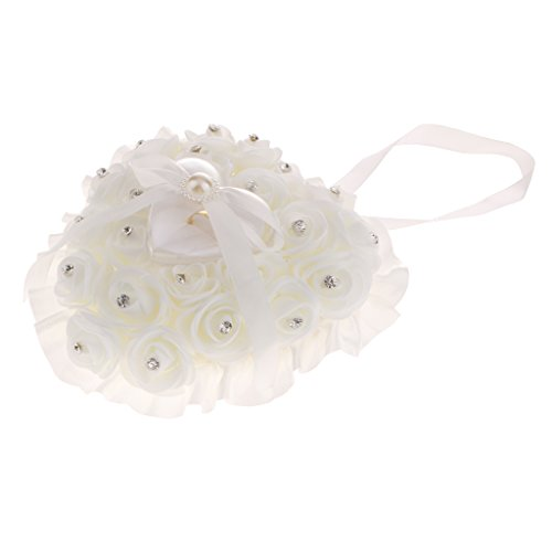 PETSOLA Romantic Rose Band Herzform Ring Kissen Box Schmuck Hochzeit Geschenk Ringkissen Wedding Ring Pillow Hochzeits Deko - Weiß