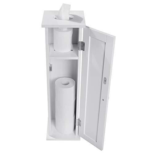 WOLTU BZS06ws Toilettenpapierhalter Housewares Freistehender Badregal, Standschrank, Seitenschrank, Standregal, Toilettenpapieraufbewahrung, 65x17x18cm, weiß