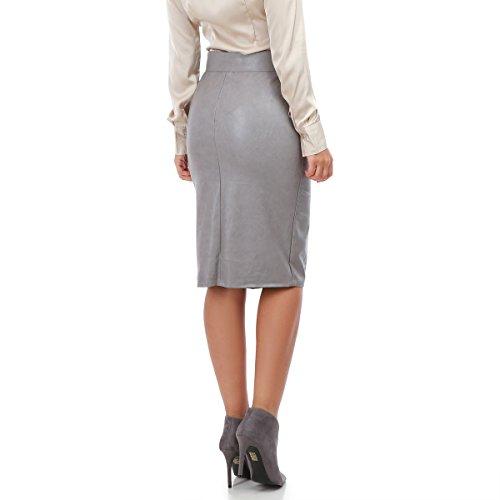 La Modeuse - Jupe taille haute en simili cuir Gris