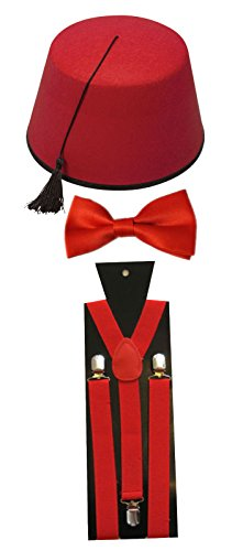 Marokkanische Türkisch Fez Hut rot Schleife, Einfarbig Krawatte Hosenträger Fancy Kleid Kostüm-Set (Typ Kostüm Kaftan)