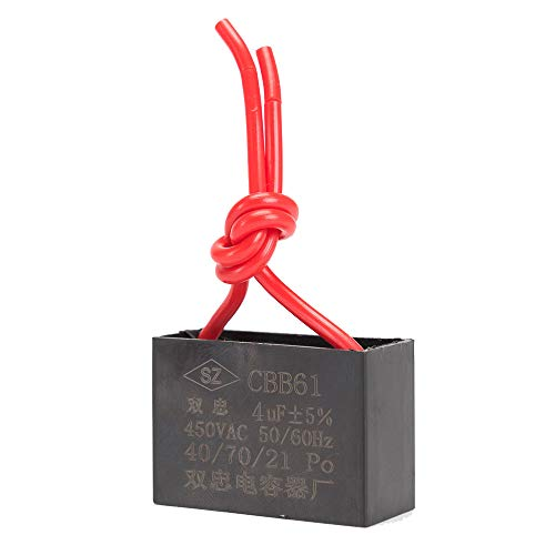 ICQUANZX Condensatore per Ventilatore a soffitto Condensatore 2 Fili per CBB61 Condensatore per Funzionamento a Motore per Ventilatore a Parete 4uF 450 V 50/60 Hz Confezione da 3