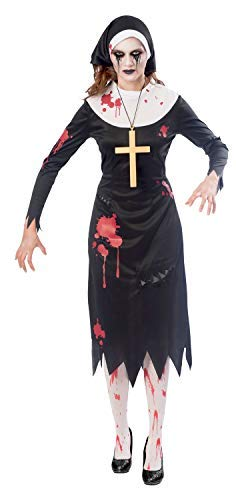 Ladies Bloody Zombie Nun Scary Horror Film Spooky Halloween Fancy Dress Costume Outfit UK 8-18 (UK 10-12)