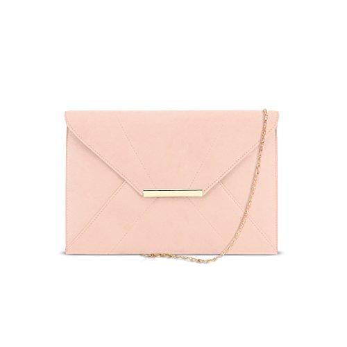 DSUK 1943 Clutches, Women's Simple Design mit einer Kette Gurt Magnet Haken Prom Party Damen Flap Bag Faux Wildleder Abendtaschen mit Tasche Plain Daily Lightweight Umschlag Handtaschen (Umschlag-geldbeutel Clutch)
