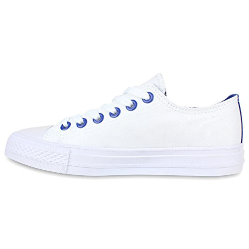 Damen Sneakers Low Bunte Ösen Freizeit Canvas Schuhe Weiß