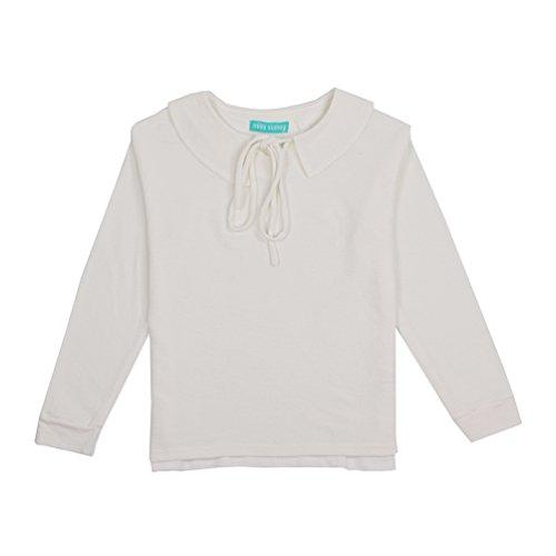 Lychee Camicetta Colletto Peter Pan Allacciato Lace up Manica Lunga Blusa Camicia Beige