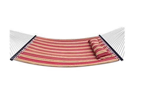 WYJW Doppelhängematte im Freien Großes schweres gestepptes Stoffbett Bett Rot gestreiftes Schaukelkissen 2 Personen Hartholzspreizer Leicht einzurichten Weiches und langlebiges UV 135 'X 55 -