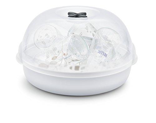 NUK Micro Express Plus Mikrowellen Sterilisator, für bis zu 4 Babyflaschen und Zubehör, schnell, effektiv und gründlich