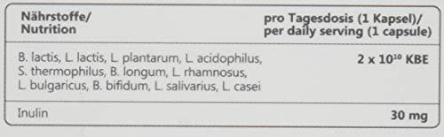 TESTSIEGER 01/2018: Nupure Probaflor - 11 Darmbakterien - 2 Monatsvorrat, 20 Mrd. KBE, Inulin, 60 Kapseln Milchsäurekulturen & Bifidobakterien