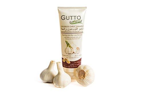 Pilz Fix (Gutto geruchloses Knoblauch-Shampoo, natürliches, pflegendes Shampoo gegen Haarverlust mit Knoblauch, Gänseblümchen, Keratin, Protein. Stimuliert das Haarwachstum, hilft gegen Haarverlust, lässt Haare schneller wachsen, Haarausfall-Behandlung für Männer und Frauen, 250 ml)