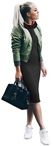 Longwu Frauen Hoodie Jacke Midi Sweatshirts Langarm Pullover Kleid Kaschmir mit Kordelzug Keine Tasche Schwarz-XL (Rock Baumwoll-kordelzug-langer)
