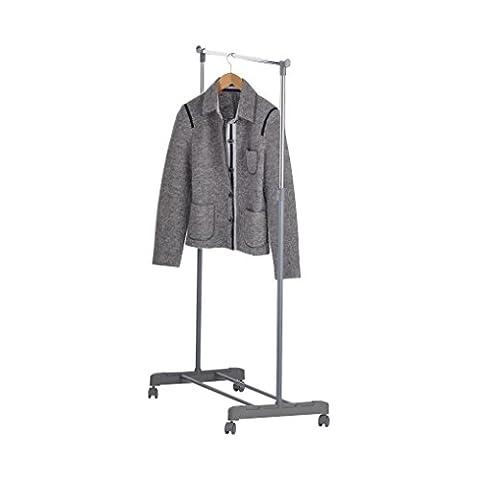 axentia 116704 Garderoben-/Wäscheständer, Kleiderstange auf Rollen, Wäscheturm, Metall, silber, 80 x 40 x 165