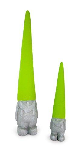 2x Deko Figur Zwerg Wichtel aus Ton grün grau, 17,5 + 28 cm groß, Dekofigur Gartenzwerg Wichtelfigur für Garten
