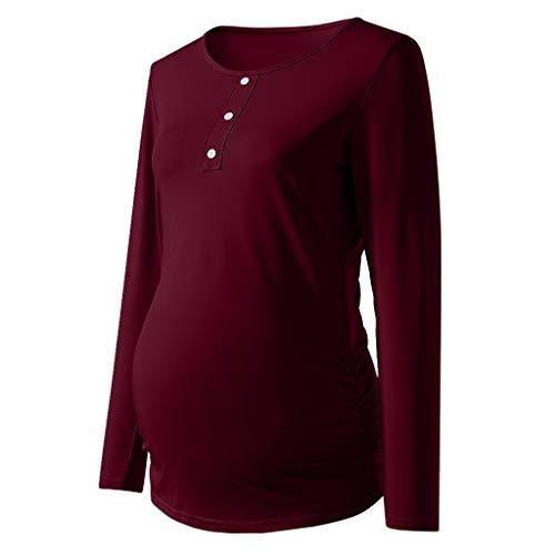 Amphia - Gestreiftes langärmliges Damen TopFrauen Mutterschaft Button Shirt Langarm Basic Top T-Shirt für Schwangere Kleidung - (Rot,S)