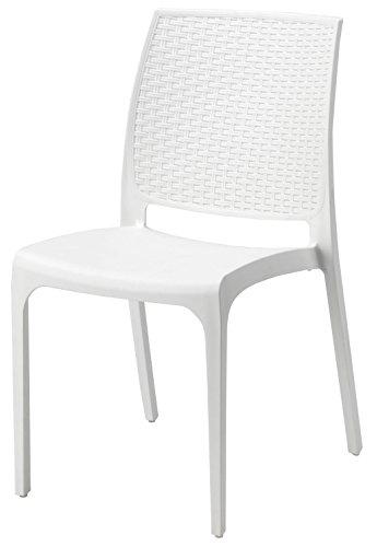 Sedie Di Plastica Bianche.Sedia Poltrona Cross In Dura Resina Di Plastica Bianca Per Giardino