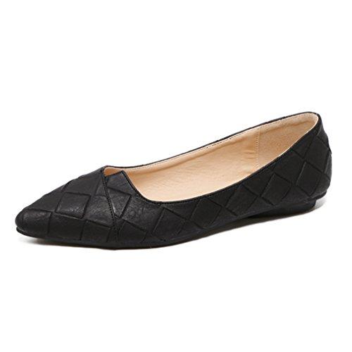 Apontado Deslizador Elegante De Lazer Deslizamento De Sapatos Dedo Gravação Escritório De Diamante Preto Senhora Em Ol Forma Antiderrapante Em Respirável grAgtxqwH