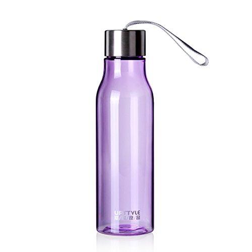UPSTYLE creative colorful plastica trasparente Sport bottiglia senza Bpa, con corda in Nylon bevande bottiglie d' acqua a prova di perdite coppia tazza da viaggio per tè, caffè, succhi di frutta, latte, 600ml, plastica, Purple, 600