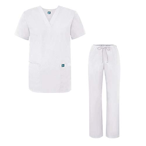 Adar Universal Medical Scrubs Set Medical Uniforms - Unisex Fit - 701 - WHT -S - Krankenschwestern Uniform Scrub Top