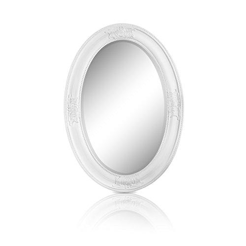 Specchio Ovale in Stile Shabby Chic - Legno Massello - Fatto a Mano - Barocco - Grandi - 50x70 cm - Antico Bianco - Rococo