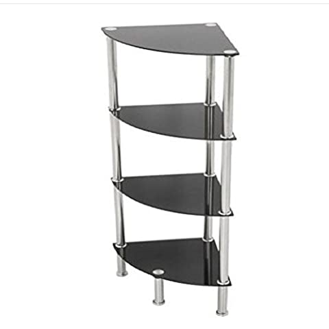 4 Tier Corner Black Glass Shelving Shelf Unit Display Cabinet / Home Sofa Table Bookcase Bed Chair Couch Dining Room Sets Sectional Living Modern Contemporary Wood Quality House Traditional Creative Unique Special Armchair Patio dresser Wooden Cool Sqaure Round Night Stands Classic Family Strong Durable
