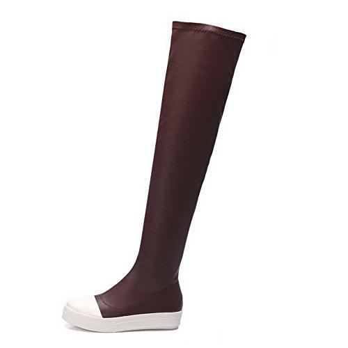 VogueZone009 Damen Niedriger Absatz Weiches Material Gemischte Farbe Ziehen Auf Stiefel Weinrot