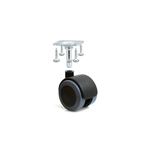 Design61 4er Set Universal Möbelrolle Gummirolle Lenkrolle Laufrolle Bodenschutz Rollen mit Anschraubplatte und Schrauben