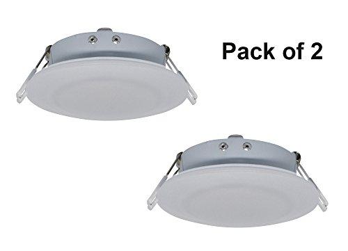 Preisvergleich Produktbild Facon 12V 4W 11.4cm LED Einbaustrahler Deckenleuchte mit Spring für Camper Wohnmobil Wohnwagen Anhänger Boot Marine und Fahrzeug(Packung mit 2 Stück)