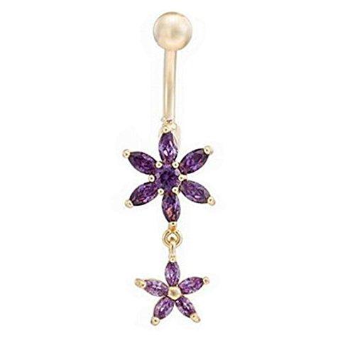 Y & M Fashion Unisex Zirkon/kupfer/vergoldet Navel & Bell Button Ringe, violett (Belly Button Ringe Violett)