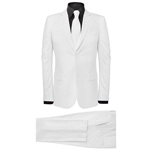 vidaXL 2tlg. Herrenanzug Business Anzug Hochzeit Jackett Krawatte Slim-Fit Gr.54 (Weiss Anzug Herren)