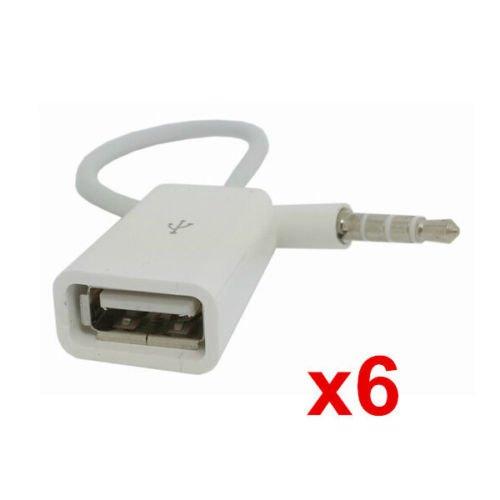 Interesting 6Pcs 3,5 mm männlichen AUX Audio-Stecker-Buchse USB2. 0 weibliche Konverter Kabel Kabel Auto MP3 -