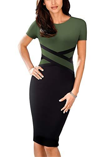 HOMEYEE Damen Vintage Rundhals 3/4 Ärmel gestreift Bodycon Bleistift lässig Business-Kleid B463 (EU 42 = Size XL, Olive-S) (Olive Farbe, Kleider)