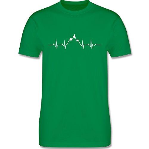 Symbole - Herzschlag Berge - XL - Grün - L190 - Herren T-Shirt Rundhals