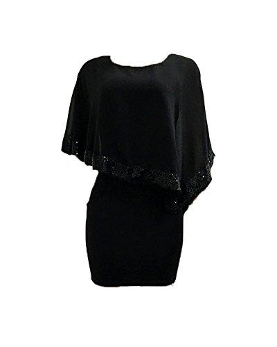 Minetom Donna Estate Vestiti Paillettes Sexy Corta Manica Irregolare Cocktail Abito Da Sera Partito Vestito Nero
