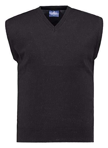 BARBONS Herren Pullunder - V-Ausschnitt - Modern-Fit - Hochwertige Baumwollmischung - Feinstrick-Weste - Schwarz (Pullunder) L