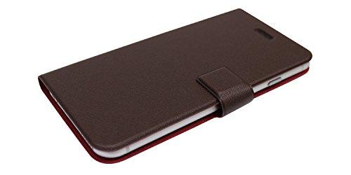 Fenice Diario Case Ultra dünne Klapptasche mit innovativer Magic Tape Halterung & Magnetverschluss für das Apple iPhone 6 / 6S - navy blau braun/braun