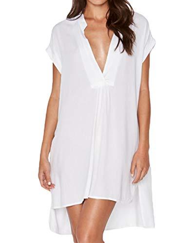 kenoce Damen Sommerkleider Kurz Kleider Elegante Strandkleider Boho Kleid Kurzarm V-Ausschnitt Minikleid Y-Weiß EU 40/Etikettgröße L -
